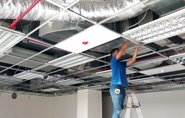 Picture of Contractor Installing Fire Sprinklers